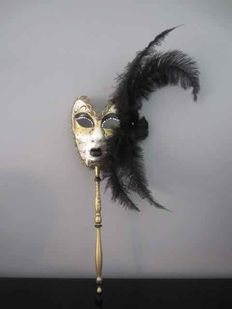 "Hand-made Venetian mask on stick ""La Machera Del Galeone"""