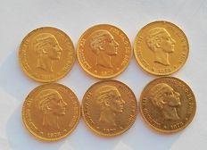 Spain, lot of 6 coins of 25 pesetas, gold. Alfonso XII. 48.3 g of 22 kt gold.