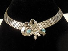Signed Louis Stern – Mesh Silver/Gold Faux Aquamarine Choker – 1940s