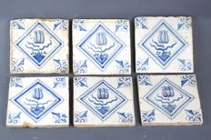 6 tulip tiles, stamp square with lily corner