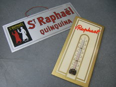 St Raphaél Quinquina - thermometer and sign, from the 60s