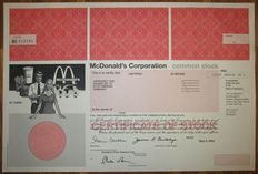 USA - McDonald's Corporation - Share Certificate 2003 - world's largest chain of hamburger fast food restaurants