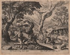Jan Sadeler I (1550-1600) :  The sacrifices of Cain and Abel - First state before the number  - 1583