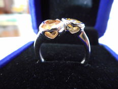 Ring in 18 kt gold with sapphires – size 16