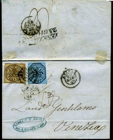 Papal States - 1852 - Letter from Ancona with 3 orange bistro baj and 7 blue baj - Sassone n.  4 + 8