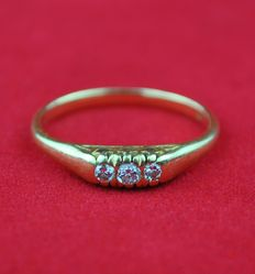 Antique 1950's Trilogy Diamond & 18k Gold Ring - E.U Size 55 resizable +++NO RESERVE+++