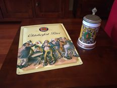 Very Pretty old Lidded Glass Beer Stein porcelain and advertising sign paulaner Munchen.