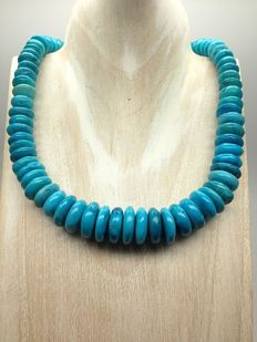 turquoise gemstones discs necklace 153g in total - lenght 48cm/ 19inch - no reserve price