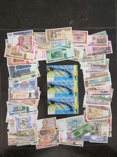 World - collection of 100 different banknotes from all over the world + Antarctica 1 dollar 2011 (3 pieces) uncut