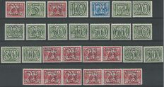 the Netherlands 1940 - Number type 'Guilloche' - NVPH 356/373 + 356a/d