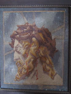 Christ with a crown of thorns - tapestry of Aubusson framed and signed in the weft - France -  18 th / early 19th century period
