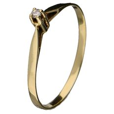 Yellow gold solitaire ring set with a brilliant cut diamond of 0.01 ct