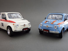 Road Signature - Scale 1/18 - Lot with 2 models: Fiat Abarth 695 SS #38 - White and Fiat Abarth 695 SS #63 - Blue - 1963