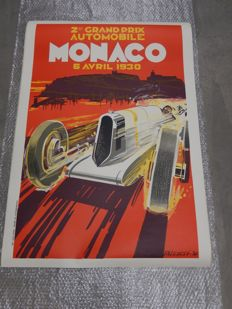 Original Vintage Monaco Monte Carlo Grand Prix F1 Poster 2nd Grand Prix Automobile 6th April 1930