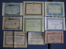 France: French Railway (Chemins de Fer) - 1872/1929     9 pieces - all with coupons