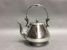 Silver plated hot water kettle with floral decoration, Sheffield, England, ca. 1920