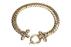 Yellow gold curb link bracelet, 14 kt