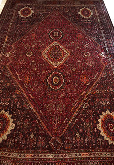 Semi- Antique  Hand-Knotted  OVERSIZE WOOL-ON-WOOL Persian  Qashqai Shiraz rug 320x220cm