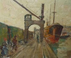 Karel Heymans (1899-1974) -  Arbeiders in de haven