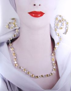 Vintage - Opera length strand - Citrine and Quartz Beads Necklace with 14k clasp - Pristine