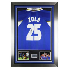 Signed Gianfranco Zola Chelsea FC Framed shirt - Final Display - No 25