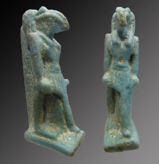Egyptian faience amulet of Thoth - 38 mm