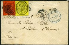 Papal States - 1868 - Letter from Rome to Poitiers (France) mixed 2nd and 3rd issue - Sassone n.  19 + 26
