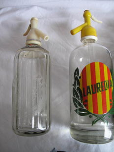 Antique bottles of bar/bistro seltzer water - Schweppes Soda and Lauredia - UK - mid-20th century