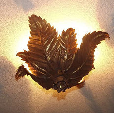 Golden forged leaves design ceiling lamp with two bulbs, 1960.