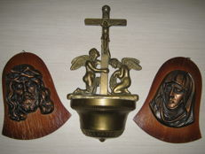 Antique brass Holy water bowl with angels and Cross-Italy about 1910-- a vintage Joseph and Mary in bronze around 1925/1930