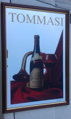 "Advertising mirror ""Tommasi Amarone"" autographed 1980"