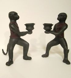 Bronze polychrome statues - monkeys with candle holders-Mid 20th century.