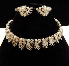 Signed Coro – Demi Parure –  Faux Seed Pearl and AB Rhinestone Necklace and Earrings