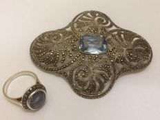 Silver Art Deco brooch and ring with spinel and marcasite, 1920, Germany