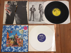 """The Rolling Stones- lot of 2 rare lp's: Sticky Fingers (early French pressing w. """"Andy Warhol"""" zipper sleeve + printed insert) & Their Satanic Majesties Request (rare Dutch issue on white wax!)"""