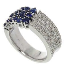 Chimento – 'Lou Lou' Ring white gold with Diamond and Sapphire – Ring size 17.5 (55)