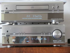 Denon stereo receiver DRA-201SA and CD player DRD-201-SA with remote control and user manual.