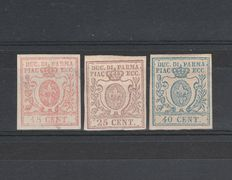Italy - Duchy of Parma, 1857/59 - 15, 25, 40 cent. (Sassone # 9, 10, 11)