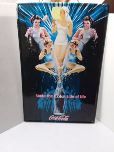 Blue Coca Cola tin advertising sign. - Belgium - 1980
