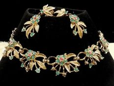 Signed Coro – Demi Parure – Aqua and Pink Rhinestone Floral Necklace and Earrings – 1950s