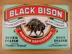 Metal sign for 'Black Bison' from 1950, in unused condition