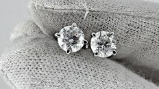 2.08 ct round diamond stud earrings 14 kt white gold