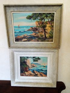 Bourbon (20th c.) - Couple of marine paintings
