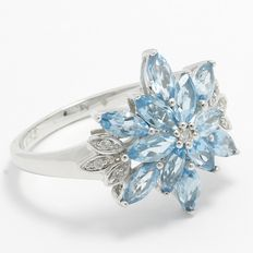 Estate  10kt White Gold Ring  Set With Diamonds and Swiss Blue Topaz