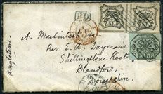 Papal States - 1863 - Letter to Great Britain with a pair of inter-spaced 8 baj and one 6 baj - Sassone n. 7 + 9