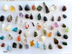 Large Lot of semi-precious stone and mineral Pendants - 12 to 40mm  (56)