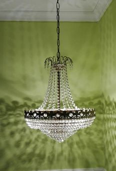 Ancient bronze and rock crystal ceiling lamp, beginning of 20th century