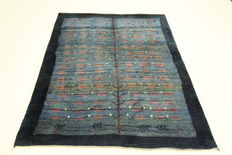 Beautiful Gabbeh Persian carpet / Iran nomad carpet, 189 x 158 cm, handwoven Oriental carpet, 100 % wool, new and in TOP CONDITION