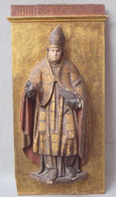 Wood carving, 3/4 relief, St. Ambrose - 16th/17th century