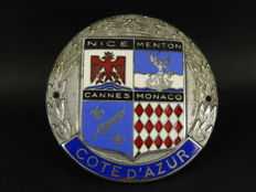 "Vintage Chrome and Enamel Nice Menton Cannes Monaco Cote D'Azur Car Auto Badge 3"" across"
